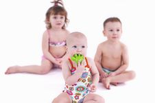 Free Three Small Children In Swimsuit Royalty Free Stock Photos - 18808588