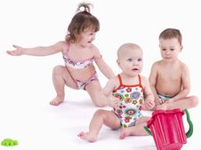 Free Three Small Children In Swimsuit Stock Photos - 18808623