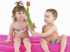 Free Two Gay Children In Swimsuits Royalty Free Stock Photo - 18808775