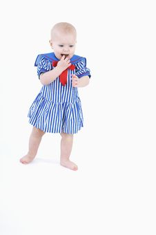 The Little Girl In A Sailor Suit Stock Photography
