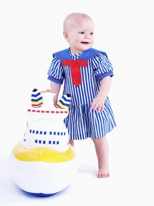 The Little Girl In A Dress Stock Photos