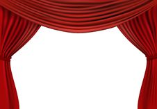 Free Background With Red Velvet Curtain. Royalty Free Stock Photos - 18810018