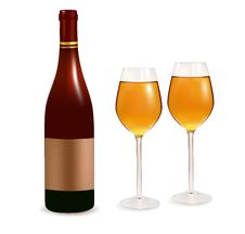 Free Two Glasses Ofwhite Wine And Bottle. Royalty Free Stock Photos - 18810028