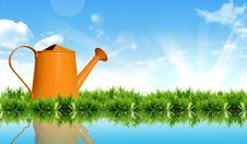 Free Watering Can On The Grass With The Bright Sky. Stock Photos - 18811103