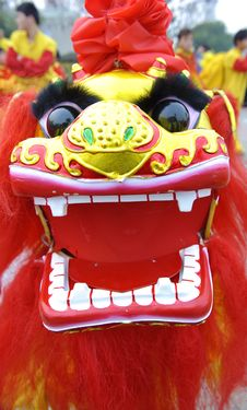 People Playing Lion Dances To Celebrate Festivals Stock Image