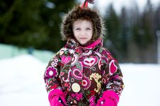 Free Winter Portrait Of Adorable Child Girl In Jumper Stock Photography - 18811572