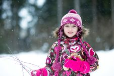 Free Winter Portrait Of Beauty Little Girl Stock Photography - 18811592