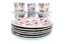 Cups With Dishes Royalty Free Stock Images