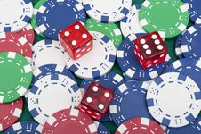 Free Many Poker Chips And Dice Royalty Free Stock Image - 18811956