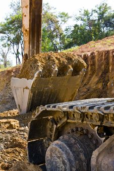 Back Hoe Standing In Mining Stock Images