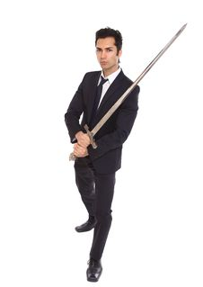 Free Businessman With Long Sword Royalty Free Stock Image - 18814016