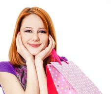 Free Shopping Girl In Violet With Bag. Royalty Free Stock Image - 18814286