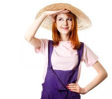 Young Girl In Overalls. Royalty Free Stock Photos
