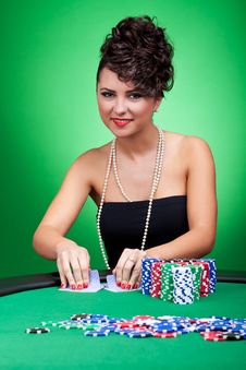 Dealing Cards At Poker Table Royalty Free Stock Images
