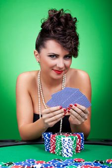 Free Woman Playing Poker Stock Photography - 18814342