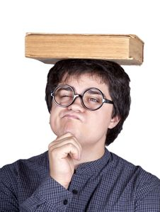 Young Men Thoughtful Men With Book Over Head. Royalty Free Stock Image