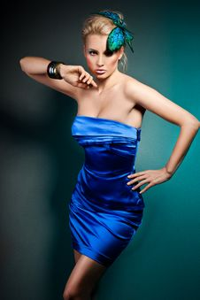 Free Woman In Blue Dress Royalty Free Stock Photography - 18815077