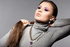 Free Woman With Violet Visage Royalty Free Stock Image - 18815186