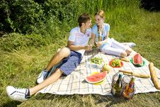 Couple At A Picnic Stock Images
