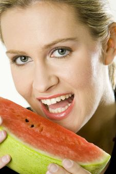 Woman With Melon Royalty Free Stock Images