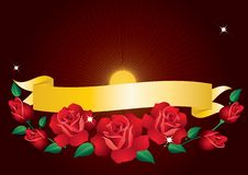 Banner And Roses. Stock Images
