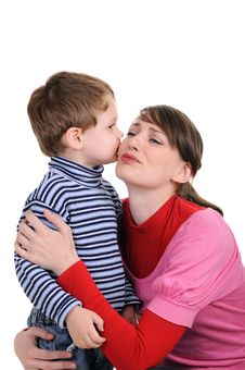 Free Small Son Kisses Mum. Isolated On White Stock Images - 18818614