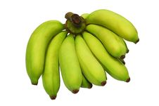 Free Banana Bunch Still Green Isolated On White Backgro Stock Image - 18819111