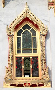 Free Buddhist Monastery Window , Bangkok Thailand Stock Photography - 18819212