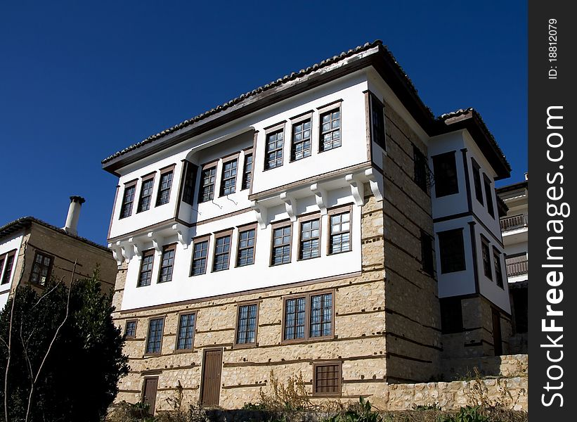Stone traditional house in Kastoria city Greece