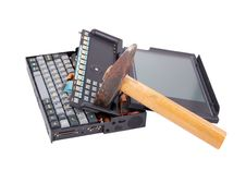 Free Old Crashed Notebook And Hammer Stock Photo - 18820020