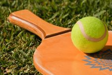 A Ball On The Racket Royalty Free Stock Photo