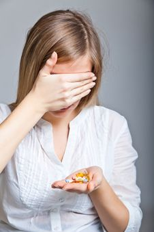 Free Depressed Woman With Pharmaceutical Stock Photo - 18822780