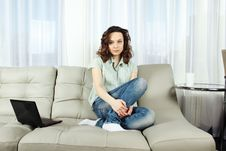 Free Young Woman On Couch With Laptop Stock Photos - 18823003