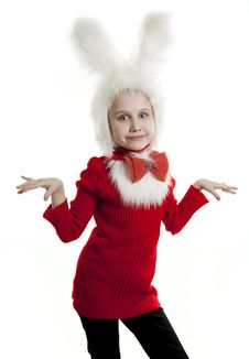 Free Сhild In A White Bunny Costume. Stock Image - 18823061