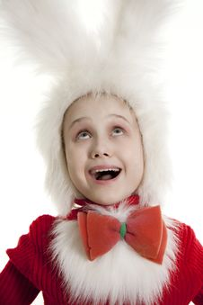 Free Сhild In A White Bunny Costume. Royalty Free Stock Image - 18823096