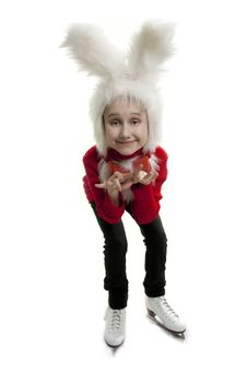 Free Сhild In A White Bunny Costume. Royalty Free Stock Image - 18823106