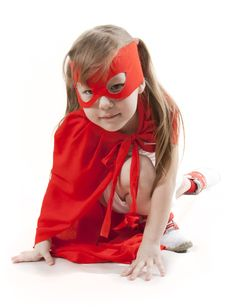 Free Superhero Girl In A Red Stock Photo - 18823200