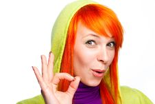 Free Smiling Red Hair Woman Showing Ok Sign Stock Images - 18824234