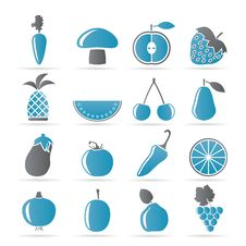 Different Kinds Of Fruits And Vegetable Icons Royalty Free Stock Image