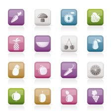 Free Different Kinds Of Fruits And Vegetable Icons Royalty Free Stock Photography - 18825727