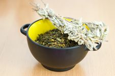 Free High Quality Green Tea Closeup In The Yellow Bowl Royalty Free Stock Image - 18826176