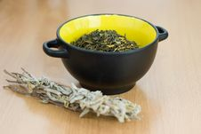 Free High Quality Green Tea Closeup In The Yellow Bowl Stock Images - 18826184