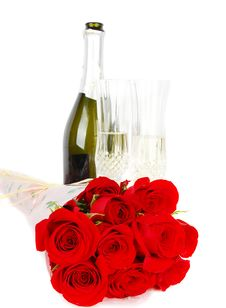 Free Champagne And Roses Royalty Free Stock Photography - 18828447