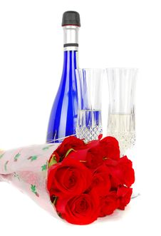 Free Champagne And Roses Royalty Free Stock Photography - 18828457