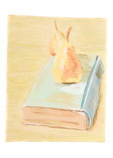 Free Art With Pears And Old Book. Stock Images - 18828504