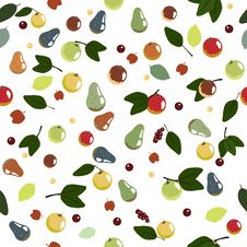 Free Seamless Pattern With Apples And Pears Royalty Free Stock Image - 18828996