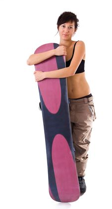 Free Girl With Snowboard Stock Images - 18829194