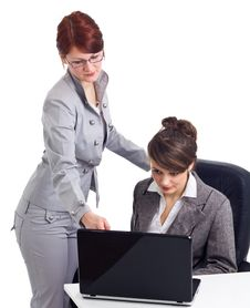 Free Two Young Businesswoman With Laptop Stock Images - 18829234