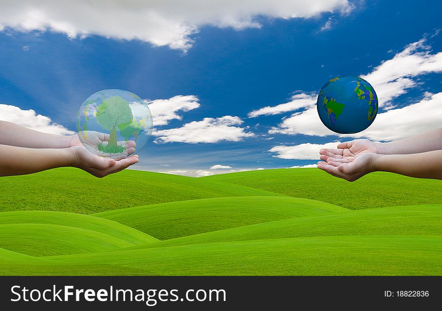 Hands hold the world