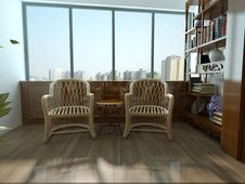 Rendering Living Room Royalty Free Stock Photography